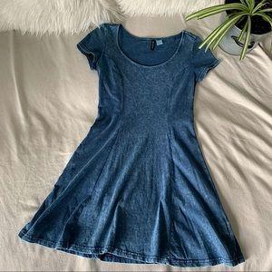 H&M Fit & Flare Faux Denim Mini Dress